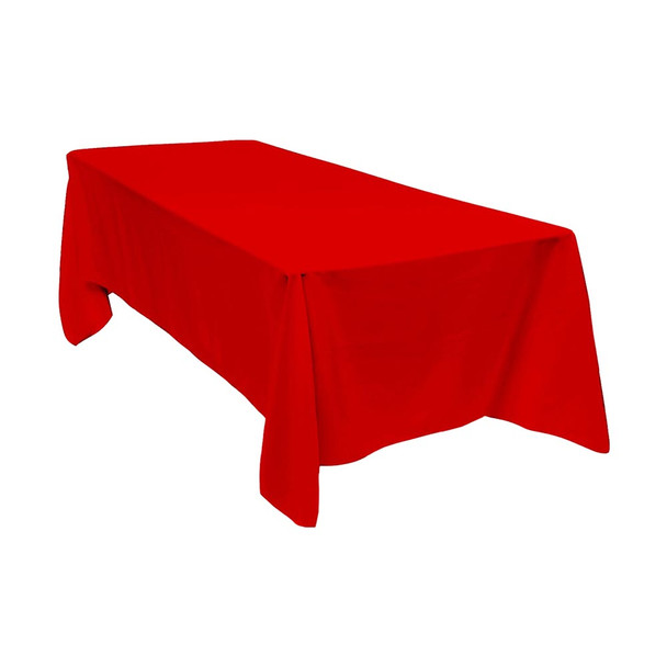 "90"" x 156"" Red Rectangular Polyester Table Cover"