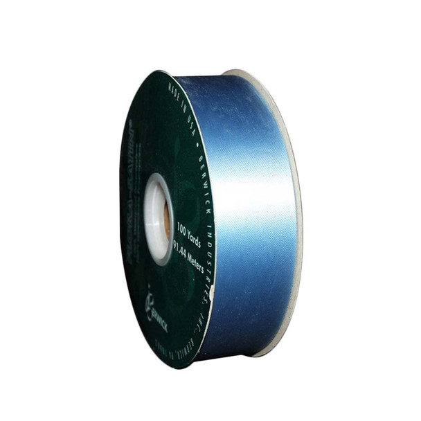 "1 7/16"" Blue Flora-Satin Ribbon"