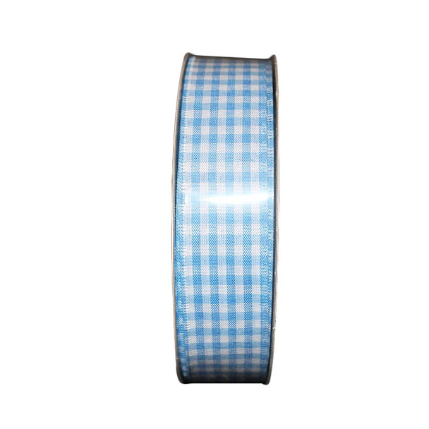 "1.5"" White and Light Blue Checkered Ribbon"