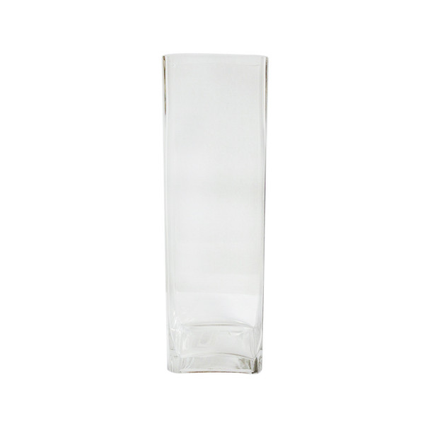 "16""H Glass Square Block Vase"