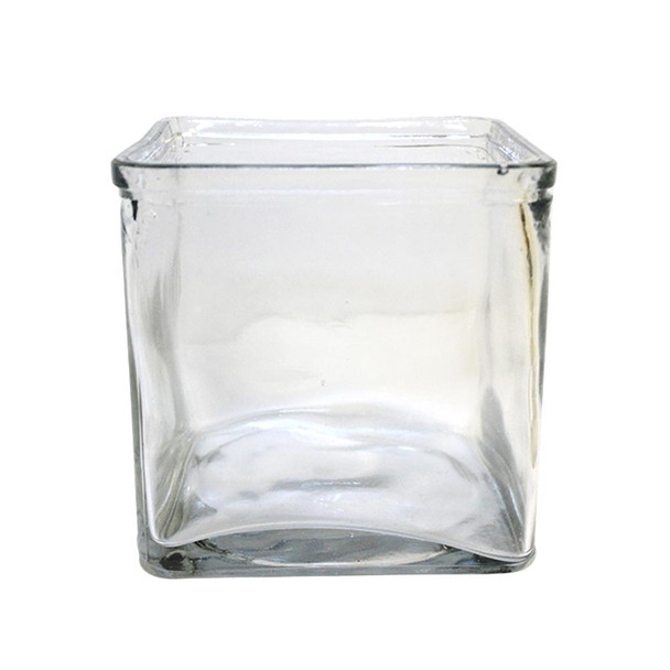 "6""H Clear Glass Cube Vase With Lip"