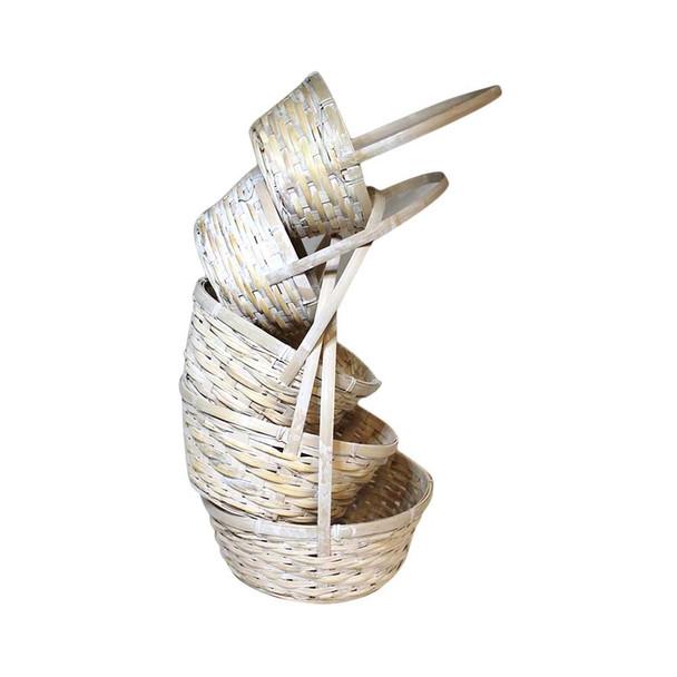 White Round Basket Set of 5