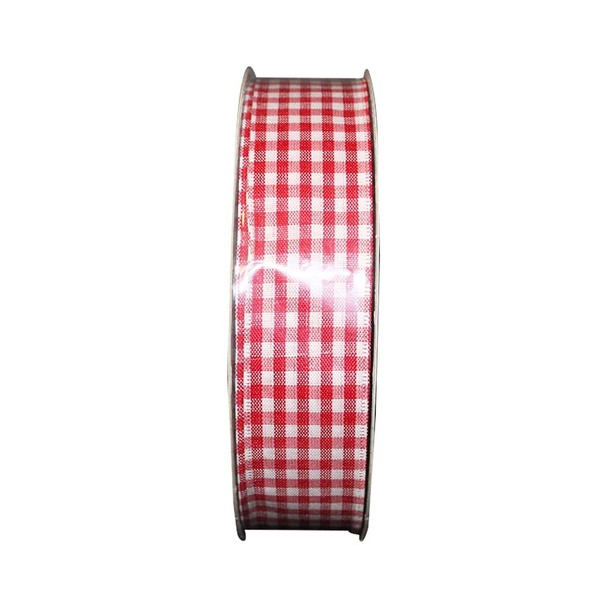 "1.5"" White & Red Checkered Ribbon"