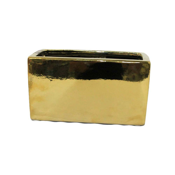 "8"" x 4""H Gold Rectangular Ceramic Vase"