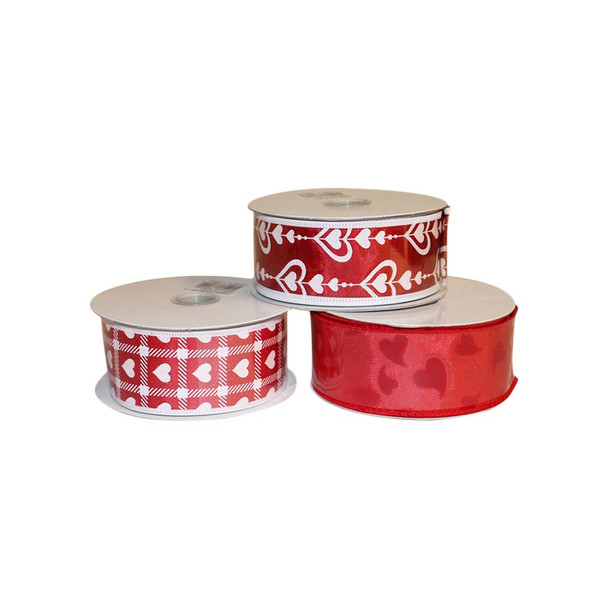 "1.5"" Assorted Red and White Hearts Ribbon"