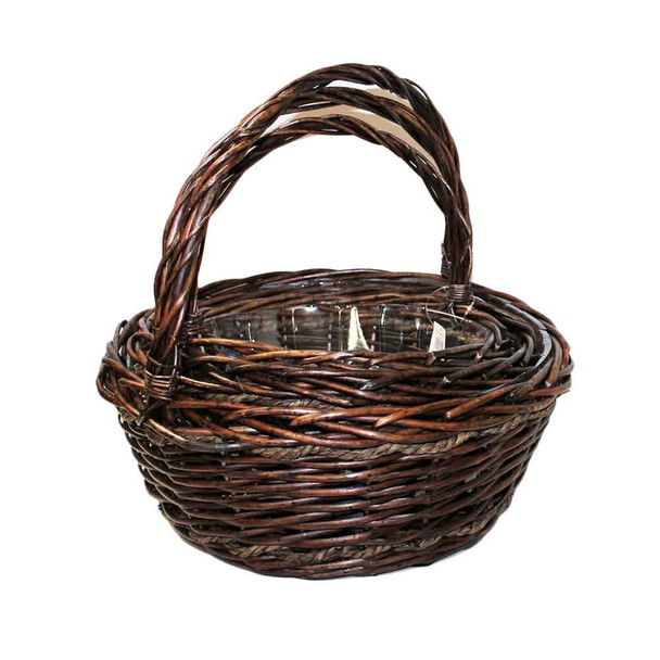 Willow Round Basket with rope S/3