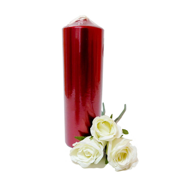 "2.75""X9"" Metallic Red Pillar Candle"
