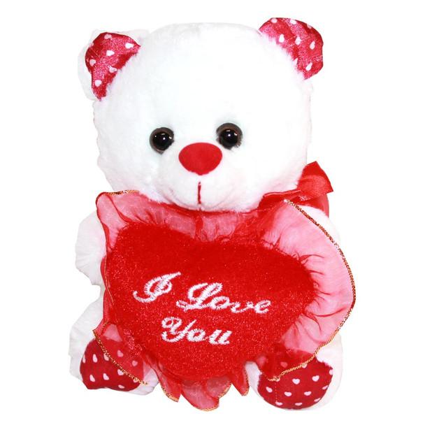 "6.5"" White Valentine I Love You Teddy Bear - 12 Pieces"