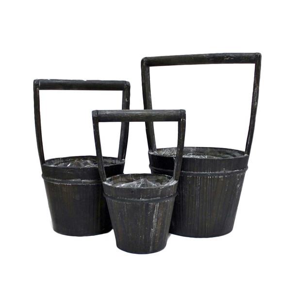 Black Wood Bucket Basket Set of 3