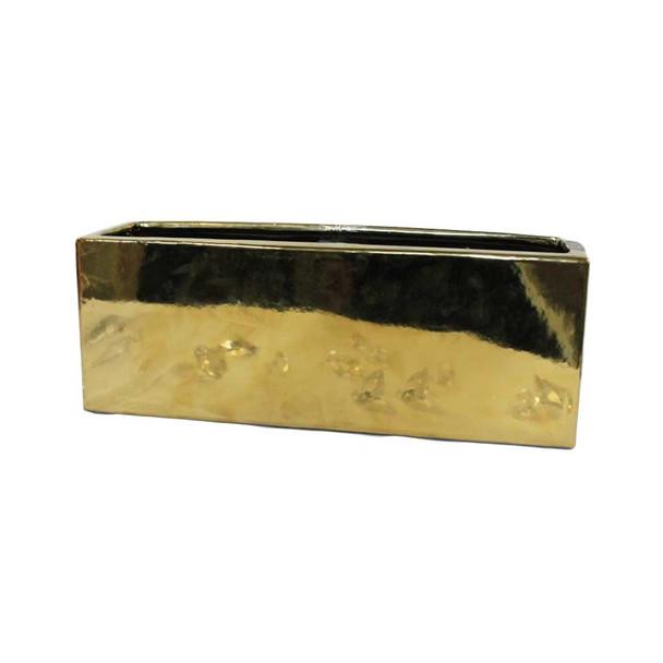 """15"""" x 6""""H Gold Rectangular  Ceramic Vase"""