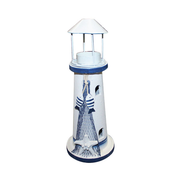 """10"""" Lighthouse With Candle Holder"""