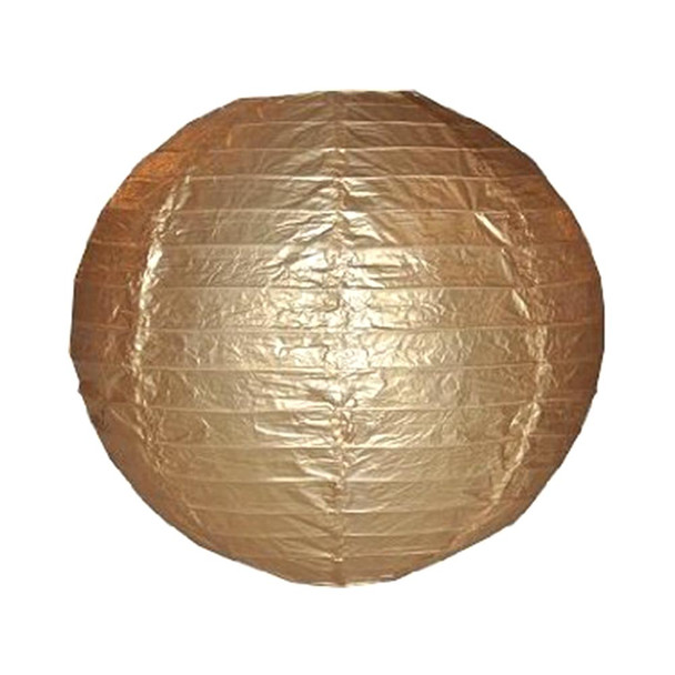 """18"""" Gold Round Paper Lantern"""