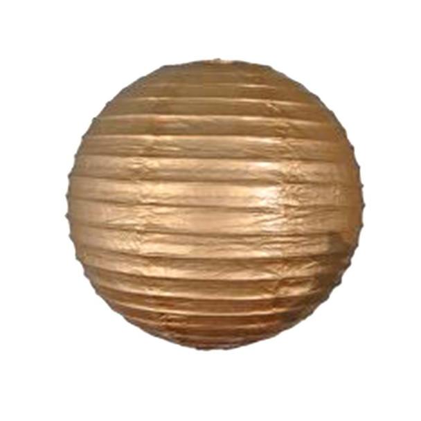 """8"""" Gold Round Paper Lantern"""