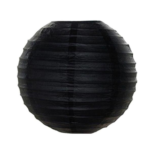 """12"""" Black Round Paper Lantern"""