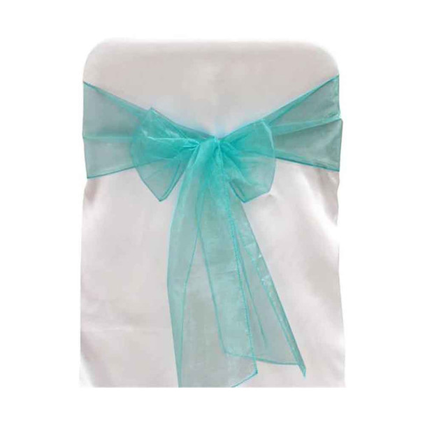 Turquoise Organza Chair Bow 6 Pcs