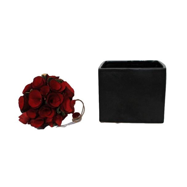 """5.5"""" Black Ceramic Cube"""
