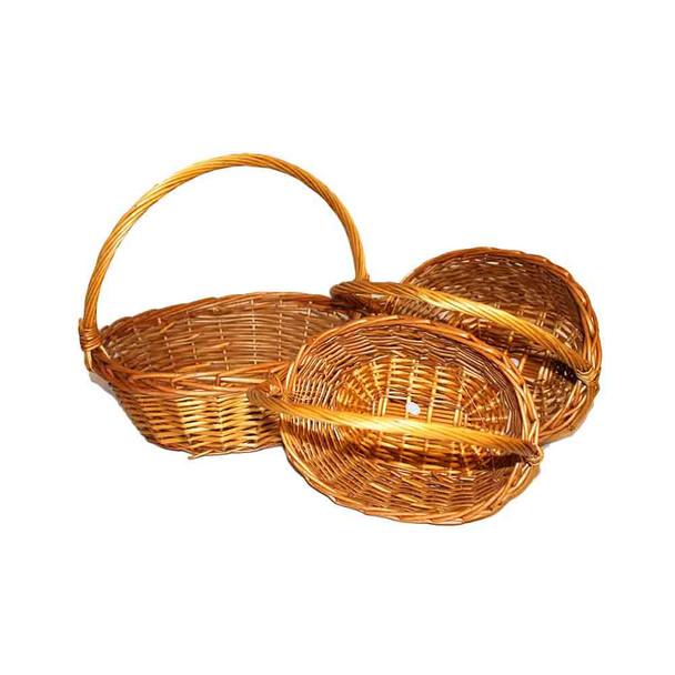 "14"" Honey Oval Basket Set of 3"