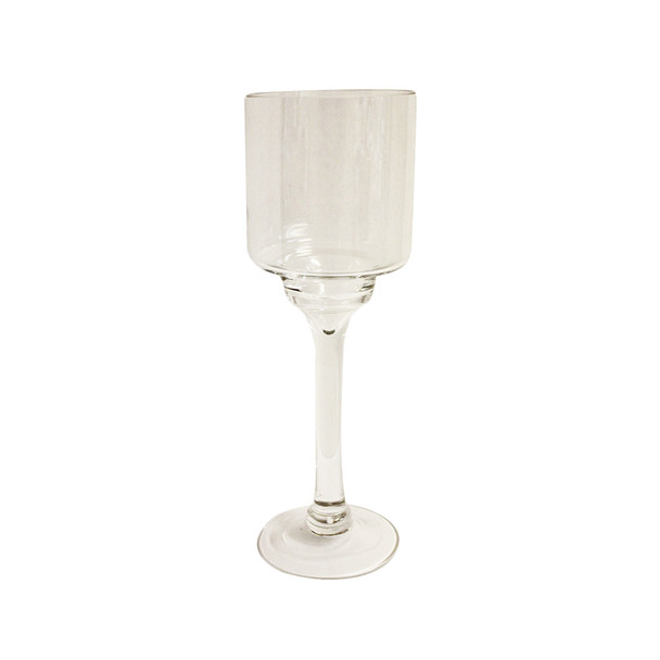"""12"""" Clear Contemporary Candle Holder"""