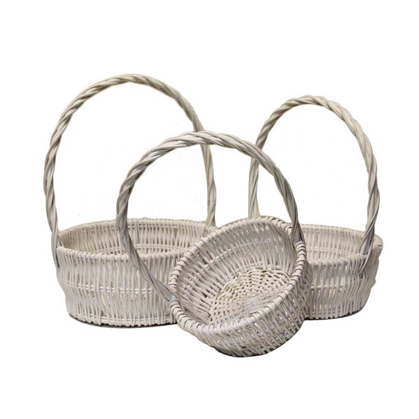 "12.5""  White Round Basket Set of 3"