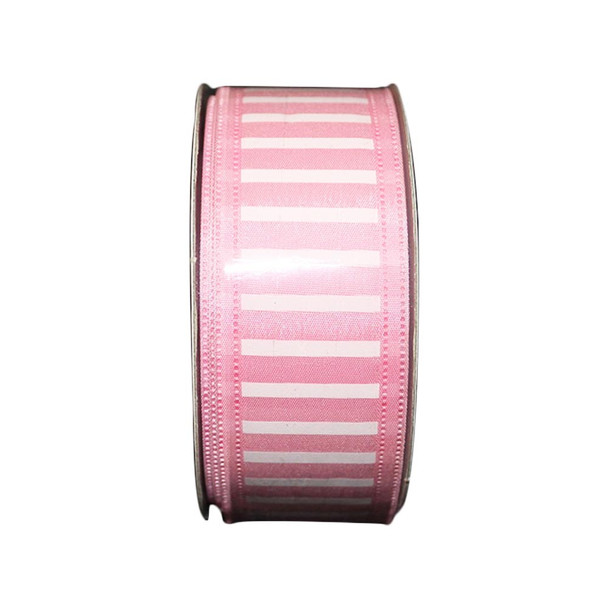 "1.5"" Pink and White Stripped Ribbon"