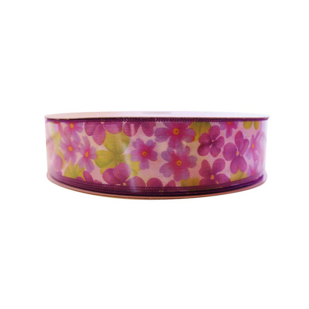 "1.5"" Fuchsia Flowers  Ribbon"