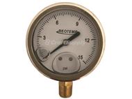 "Pressure Gauge, 0-15 PSI, 2.5"" Face, Bottom Mount ¼"" NPT, REOTEMP"