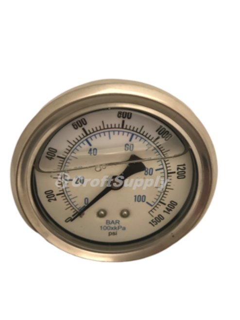 The 202L-254N Pressure Gauge suitable for air, water, oil, gas or any other media not corrosive to brass.