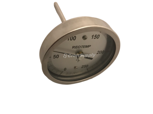 "Temperature Gauge,  0-250°F, 3"" Face, Back Mount 1/2"" NPT, REOTEMP AA0401F47"
