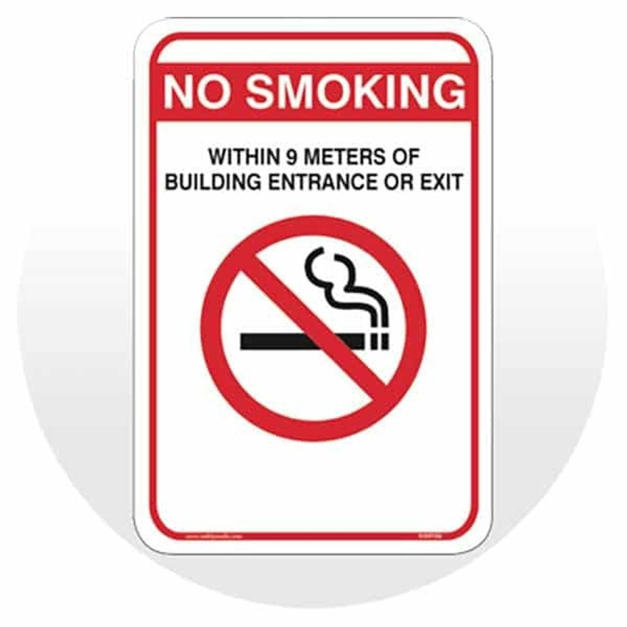 No Smoking Near Entrance Signs