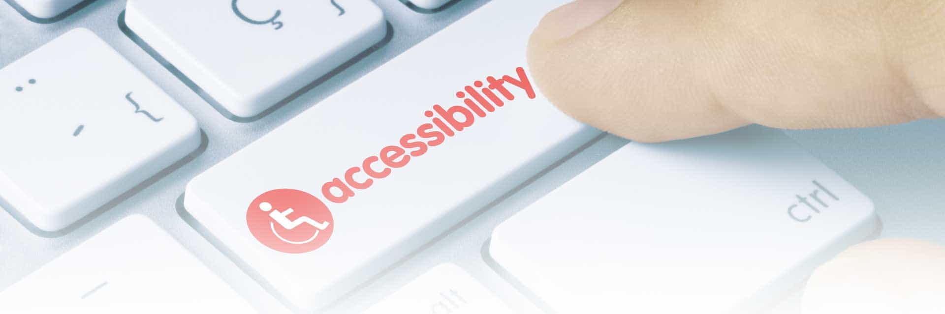 Accessibility Banner; keyboard with red button that says accessibility