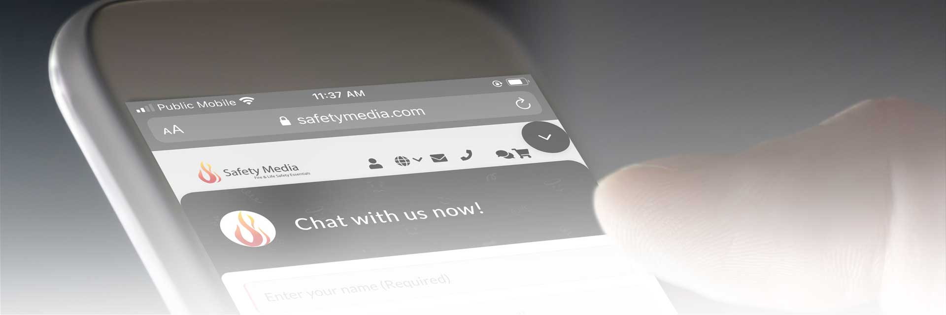 Banner Image; phone screen with Safety Media's web chat open