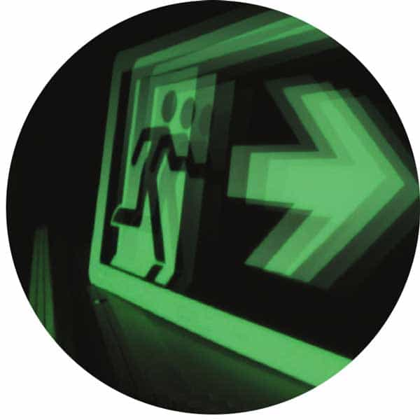 ecoglo exit running man sign