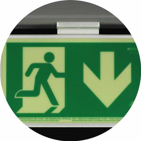 ecoglo pathmarking running man sign, ceiling mount