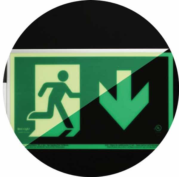 ecoglo running man pathmarking sign; flag mount