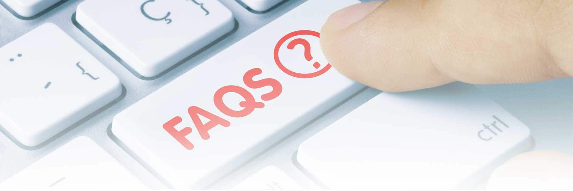 Banner Image; computer keyboard with a red button that reads 'FAQs'