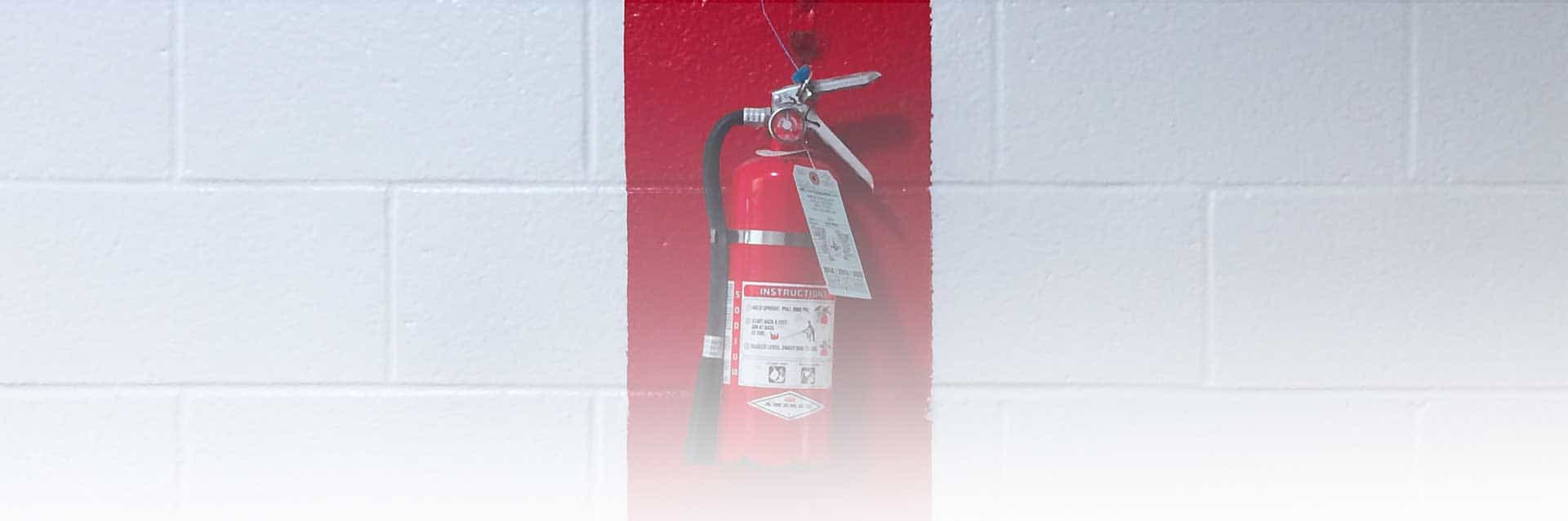 fire extinguisher banner. Fire extinguisher on a wall.