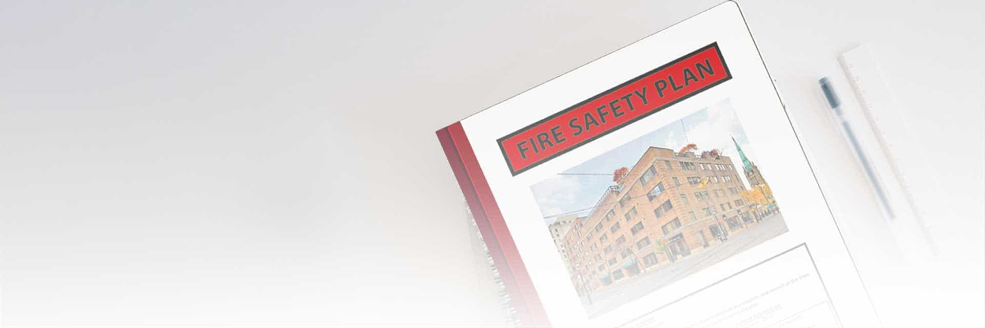 Fire Safety Plan Banner Image. Fire safety plan binder on a white background