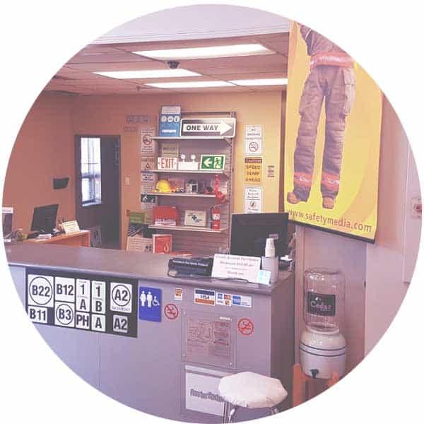 inside store: front desk