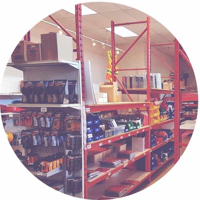 Inside the store; shelves