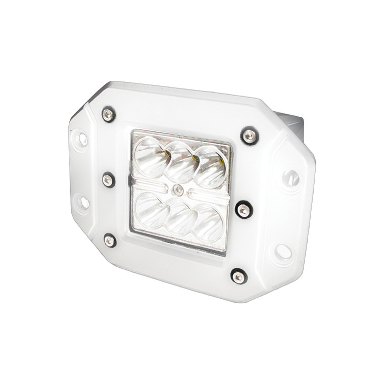 WHITE SHELL - Flush Mountable 18Watt 6-LED High-Powered 3x3 LED Spot Light with White L.E.D.