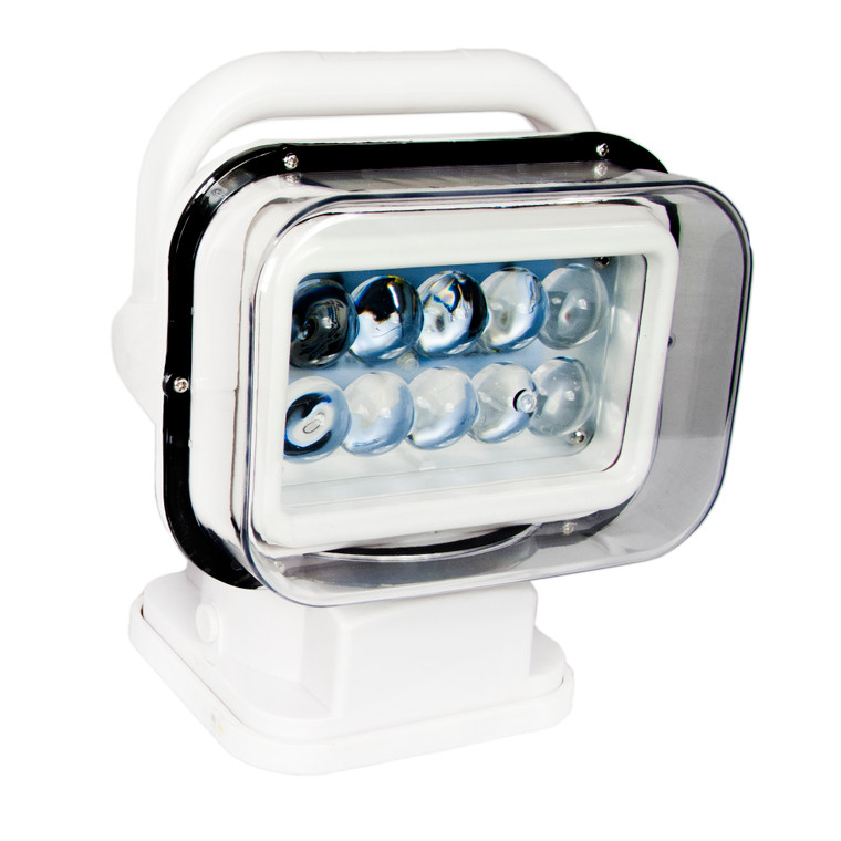 Motorized 50W LED Spot Light w/ Remote 360 degree / 120 vertical Swivel Functionality (White)