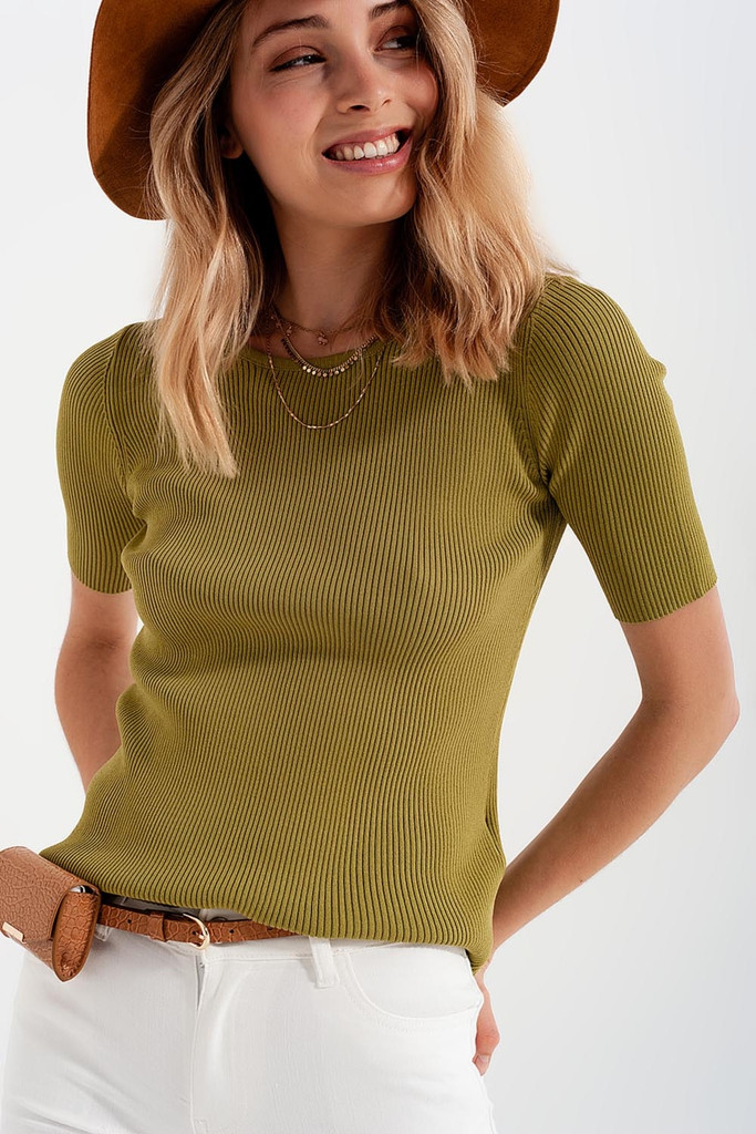 Green Rib Knit Sweater with Tie in Back