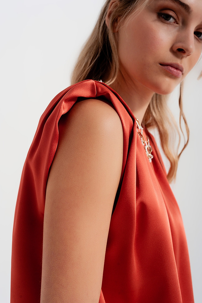 Gathered Satin Sleeveless Top with Shoulder Pads in Brick