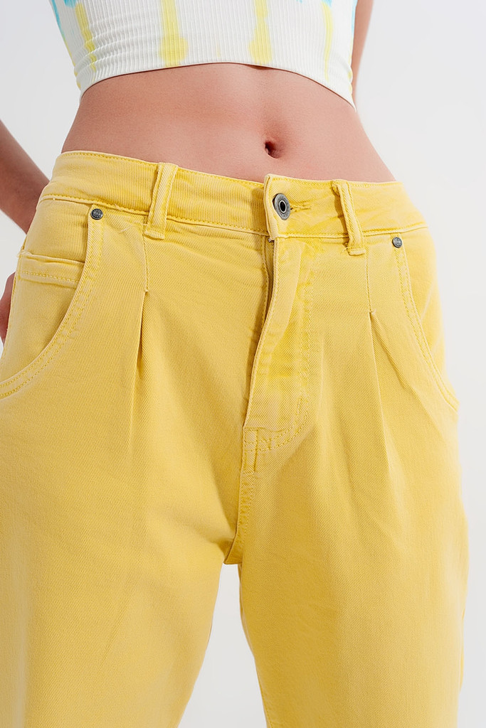 High Rise Mom Jeans with Pleat in Yellow
