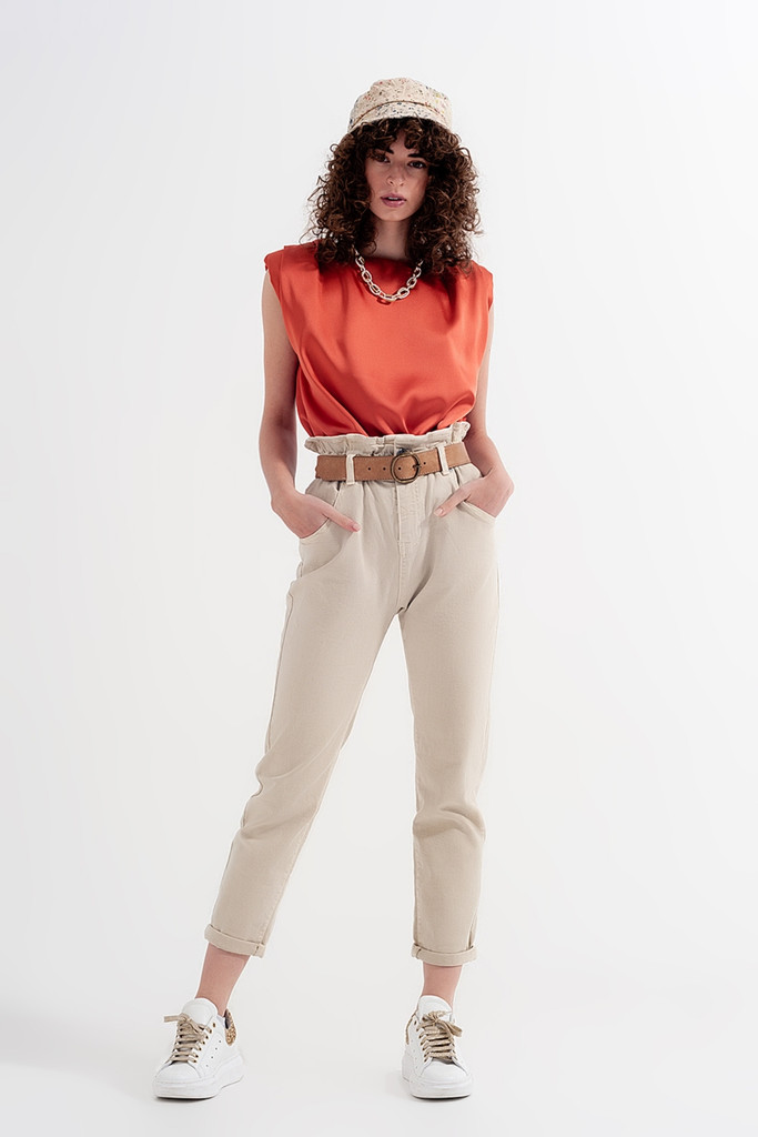 MOM JEANS WITH ELASTICATED PAPER BAG WAIST IN BEIGE