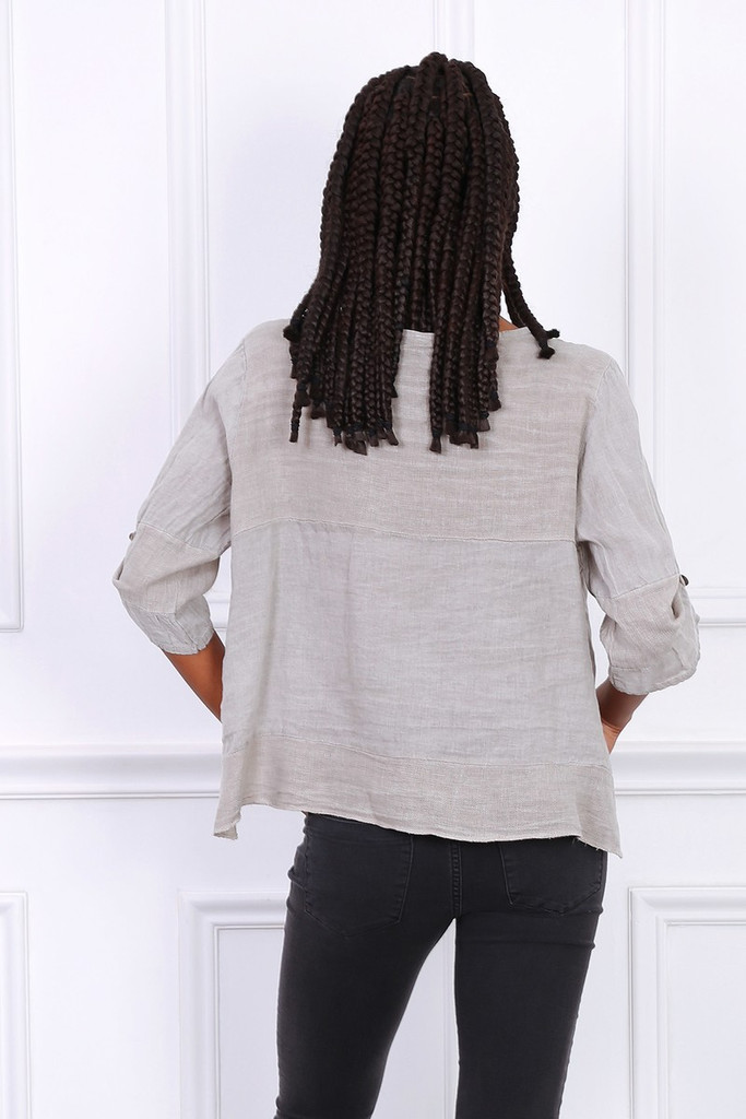 Linen Jacket with Detailed Pockets in Taupe