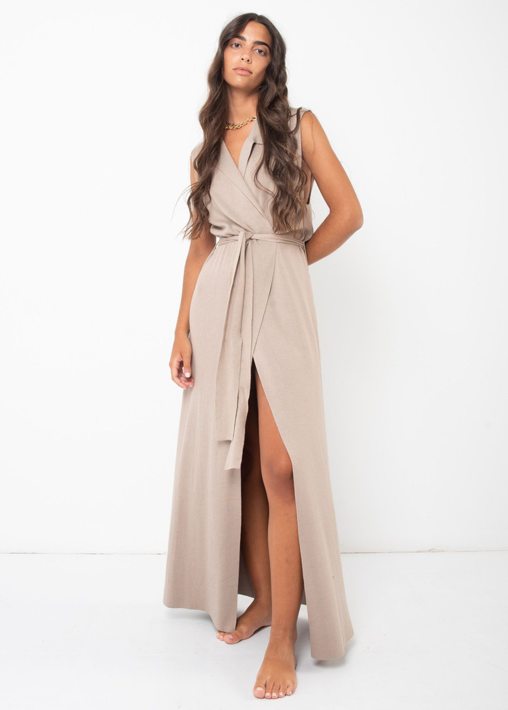 Long Knitted  Waistcoat in Taupe