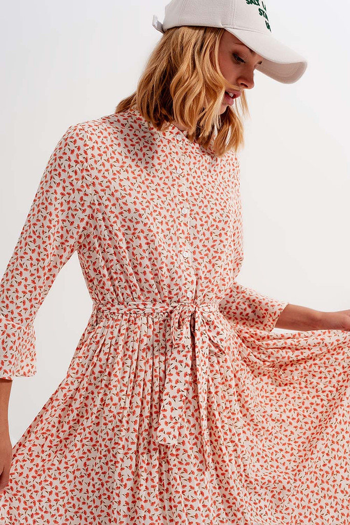 Buttoned Midi Dress with High Collar in Floral Print
