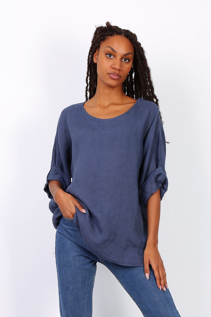 LINEN TOP WITH 3/4 SLEEVES IN DENIM BLUE