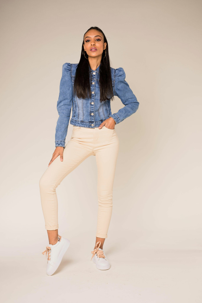 Jeans Jacket with Puff Sleeves